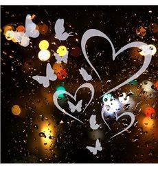 Sticker électrostatiques Coeurs et papillons