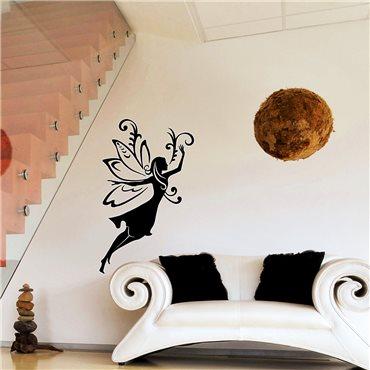 Sticker fée avec des motifs floraux - stickers chambre fille & stickers enfant - fanastick.com