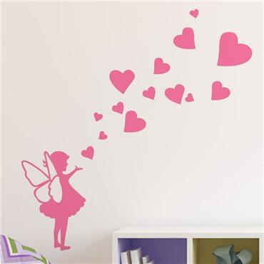 Sticker petite fée avec des coeurs - stickers chambre fille & stickers enfant - fanastick.com