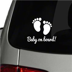Sticker auto Empreintes de pieds Baby on board