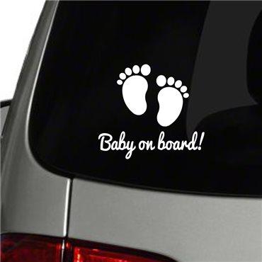 Sticker auto Empreintes de pieds Baby on board - stickers bébé à bord & stickers muraux - fanastick.com