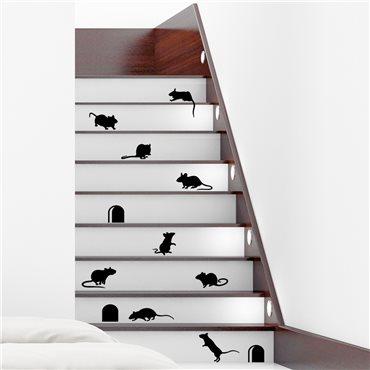 Sticker Escaliers drôles avec souris - stickers animaux & stickers muraux - fanastick.com