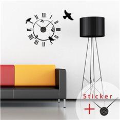 Sticker horloge avec des oiseaux