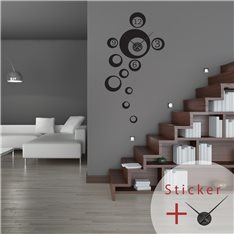 Sticker horloge bulles avec chiffres