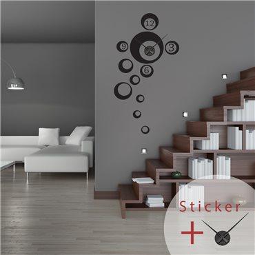 Sticker horloge bulles avec chiffres - stickers horloge & stickers muraux - fanastick.com