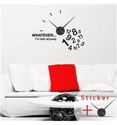 Sticker horloge WHATEVER… I'm late anyway
