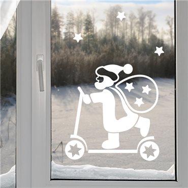 Sticker Père Noël sur scooter - stickers noël & stickers muraux - fanastick.com