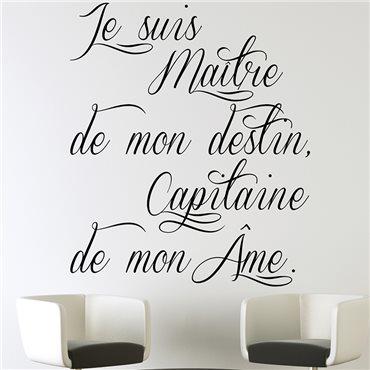 Sticker citation je suis maître de mon destin... - stickers citations & stickers muraux - fanastick.com