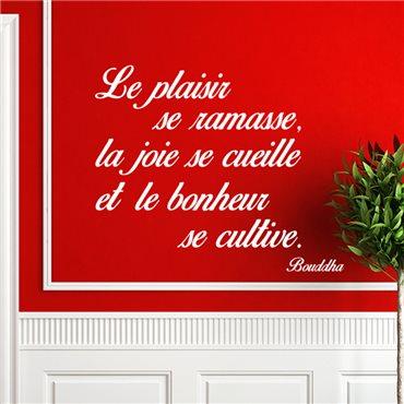 Sticker citation le plaisir, la joie, le bonheur - Bouddha - stickers citations & stickers muraux - fanastick.com