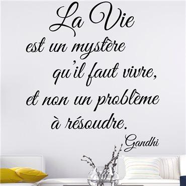 Sticker citation La vie est un mystère. Gandhi - stickers citations & stickers muraux - fanastick.com