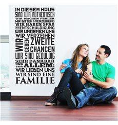 """Sticker texte """"In diesem Haus, wir Lieben uns, wir eine Familie"""""""
