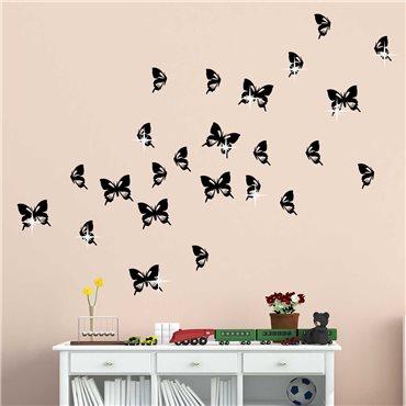 Sticker swarovski papillons & 15 Swarovski crystal 3mm - stickers swarovski® elements & stickers muraux - fanastick.com