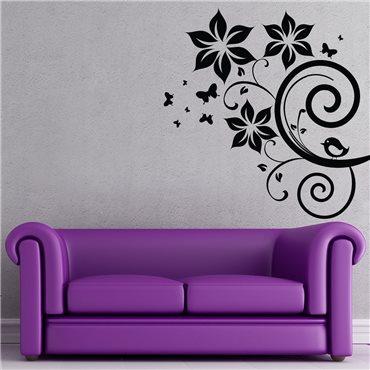 Sticker Fleurs, papillons et oiseau - stickers design & stickers muraux - fanastick.com