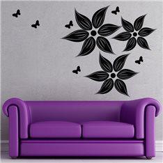 Sticker Design fleurs et papillons