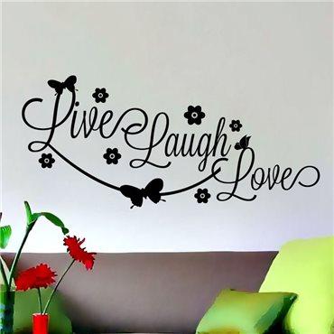 Sticker Design Live, laugh, love - stickers citations & stickers muraux - fanastick.com