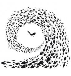 Sticker Tourbillon de poissons