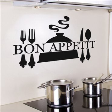 Sticker « Bon appétit » et couverts de table - stickers cuisine & stickers muraux - fanastick.com