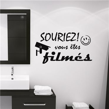 Sticker Souriez! Vous êtes filmés - stickers citations & stickers muraux - fanastick.com