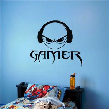 Sticker Smiley Gamer - stickers geek & stickers muraux - fanastick.com