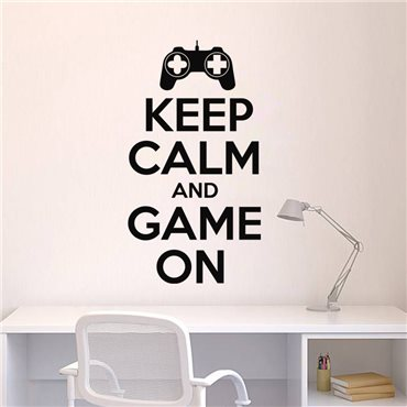 Sticker Keep Calm and game on - stickers geek & stickers muraux - fanastick.com