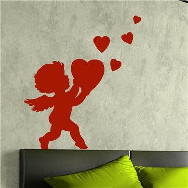 Sticker Cupidon portant un cœur - stickers amour & stickers muraux - fanastick.com