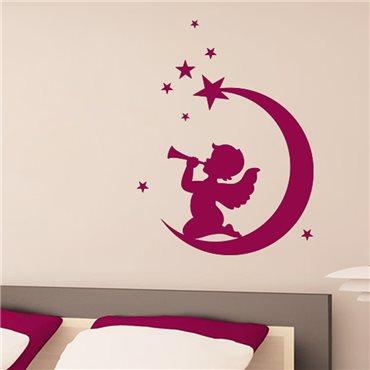Sticker Ange assis sur la lune - stickers chambre enfant & stickers enfant - fanastick.com