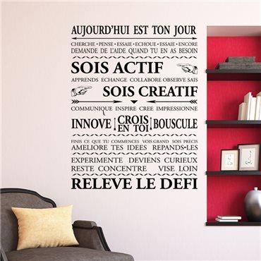 Sticker Aujourd'hui est ton jour - stickers citations & stickers muraux - fanastick.com