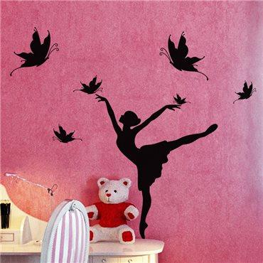 Sticker Silhouette danseuse et papillons - stickers chambre fille & stickers enfant - fanastick.com