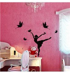 Sticker Silhouette danseuse et papillons