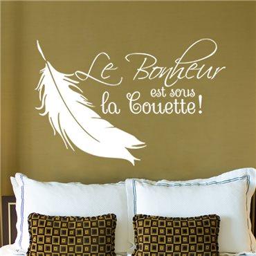 Sticker Le bonheur est sous la couette - stickers chambre & stickers muraux - fanastick.com