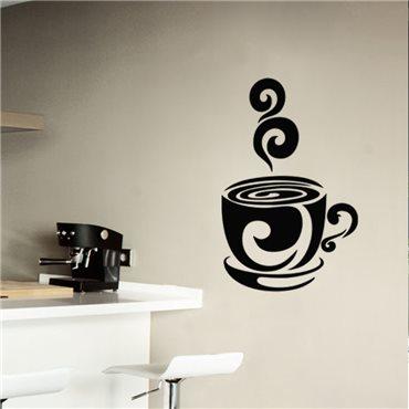 Sticker Design tasse de café chaud - stickers cuisine & stickers muraux - fanastick.com