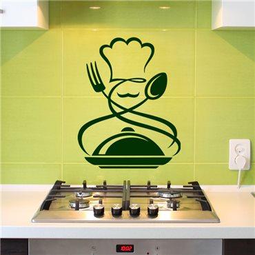 Sticker Cuisinier, fourchette, cuillère, repas chaud - stickers cuisine & stickers muraux - fanastick.com