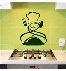 Sticker Cuisinier, fourchette, cuillère, repas chaud