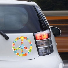 Sticker Peace and love fleurs blanc