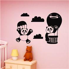 Sticker Design panda en parachute