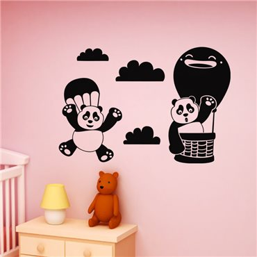 Sticker Design panda en parachute - stickers animaux enfant & stickers enfant - fanastick.com