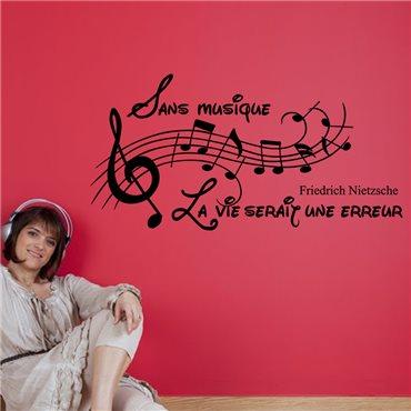 Sticker Sans musique, la vie serait une erreur - Friedrich Nietzsche - stickers citations & stickers muraux - fanastick.com