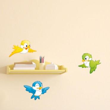 Sticker 3 Petits oiseaux - stickers enfants & stickers enfant - fanastick.com