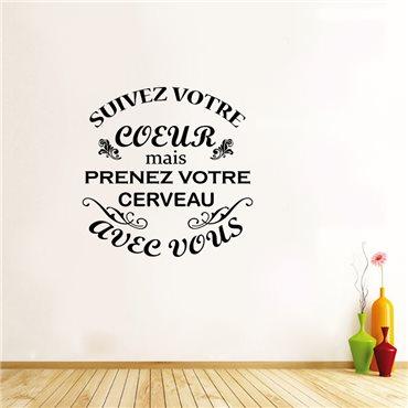 Sticker Suivez votre coeur - stickers citations & stickers muraux - fanastick.com