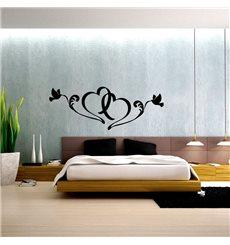 Sticker 2 oiseaux et 2 cœurs