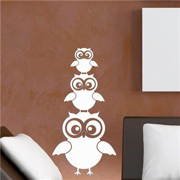 Sticker Caricature trois hiboux - stickers oiseaux & stickers muraux - fanastick.com