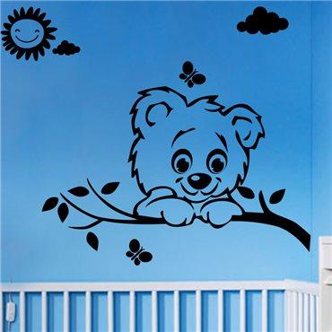 Sticker Soleil, nuage, papillon et chien - stickers animaux enfant & stickers enfant - fanastick.com