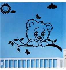 Sticker Soleil, nuage, papillon et chien