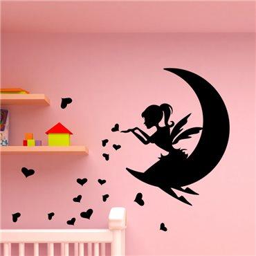 Sticker Fée sur la lune et cœurs - stickers chambre fille & stickers enfant - fanastick.com