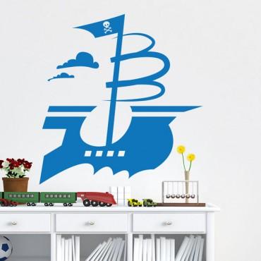 Sticker Bateau pirate - stickers pirates & stickers enfant - fanastick.com