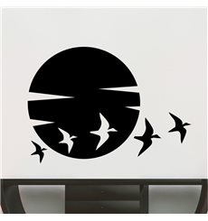 Sticker soleil et les oiseaux