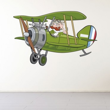 Sticker Bi-plane - stickers enfants & stickers enfant - fanastick.com