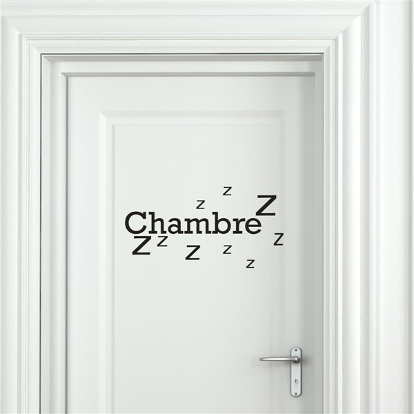 sticker porte chambre zzz stickers porte stickers deco. Black Bedroom Furniture Sets. Home Design Ideas