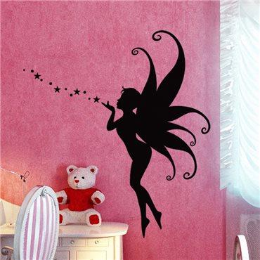 Sticker Fée volant soufflant des étoiles - stickers chambre fille & stickers enfant - fanastick.com