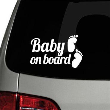 Sticker auto Baby on board et pieds - stickers bébé à bord & stickers muraux - fanastick.com